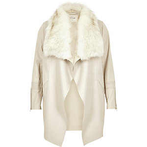 Plus light grey faux fur waterfall jacket
