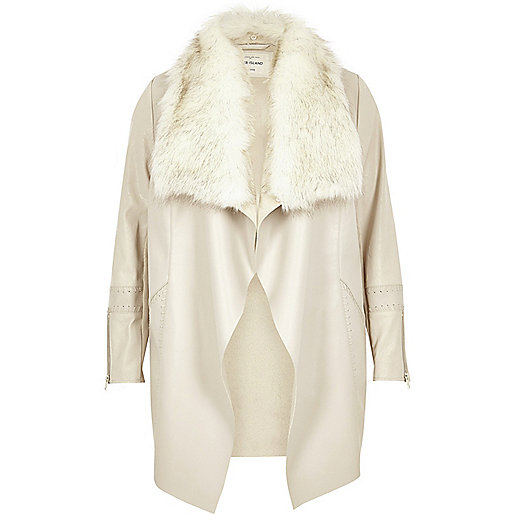Plus light grey faux fur waterfall jacket