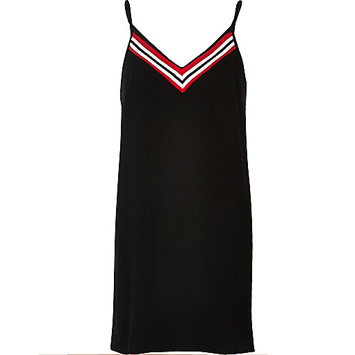 Black stripe panel slip dress