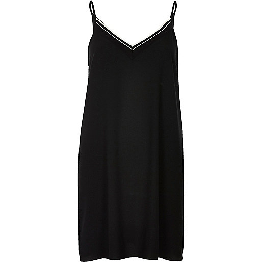 Black ribbed slip dress