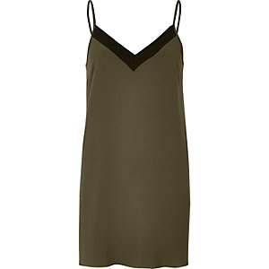 Khaki ribbed slip dress