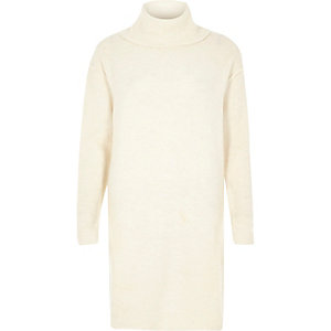 Cream turtleneck dress