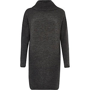 Dark grey knit turtleneck dress