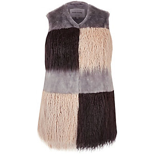 Plus grey faux fur patchwork gilet