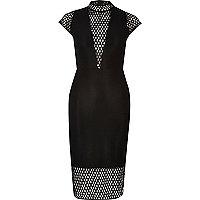 Black turtle neck mesh bodycon midi dress