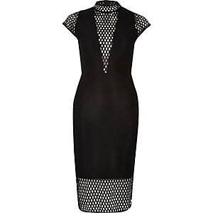 Black turtle neck mesh bodycon midi dress