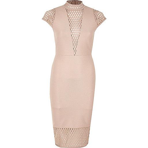 Pink mesh panel turtleneck dress