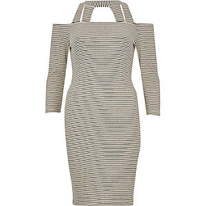 Black stripe strappy bardot dress
