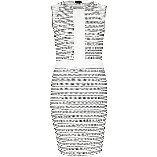 White stripe panel bodycon dress