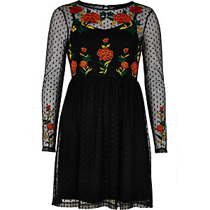 Black mesh rose embellished skater dress
