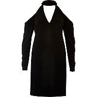 Black cold shoulder choker dress