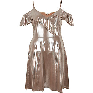 Metallic nude frilly skater dress