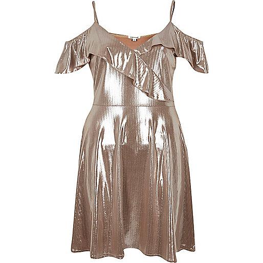 Metallic nude frilly skater dress