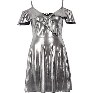 Silver frilly skater dress