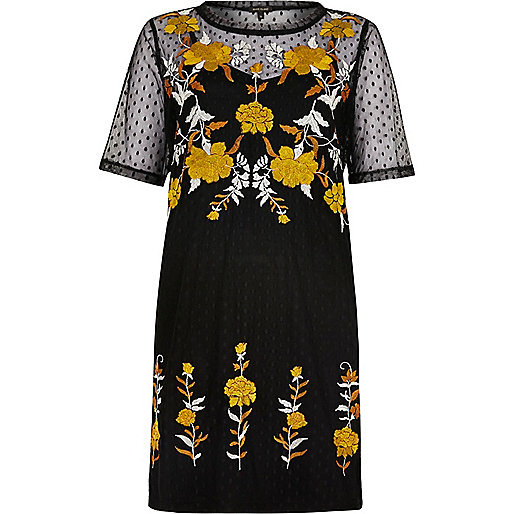 Black embellished mesh T-shirt dress