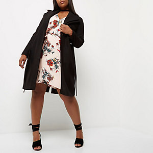 Plus black double collar robe coat