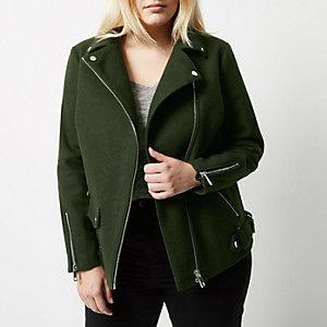 Plus khaki green wool blend aviator coat