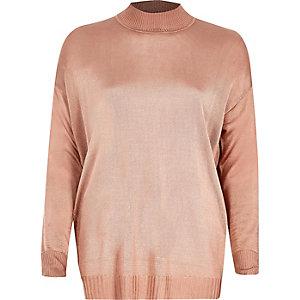 Dusty pink sheer knit turtleneck top