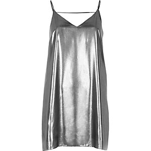 Silver strap back cami dress