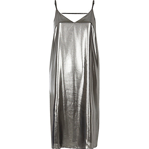 Silver strap back cami midi dress