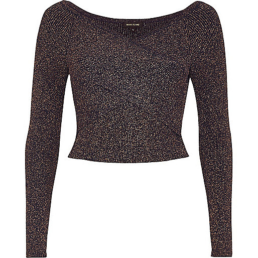 Navy sparkly bardot wrap crop top