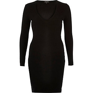 Black ribbed plunge dress