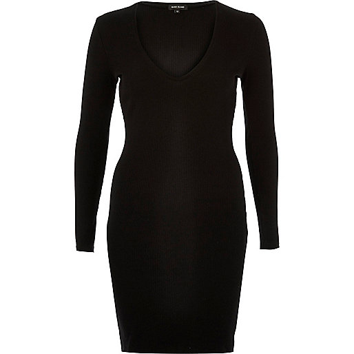 Black ribbed plunge dress