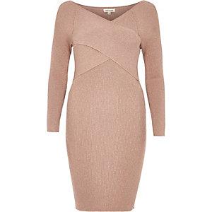 Blush pink sparkly wrap bodycon dress
