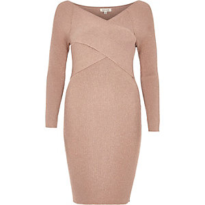 Blush pink sparkly wrap bodycon dress