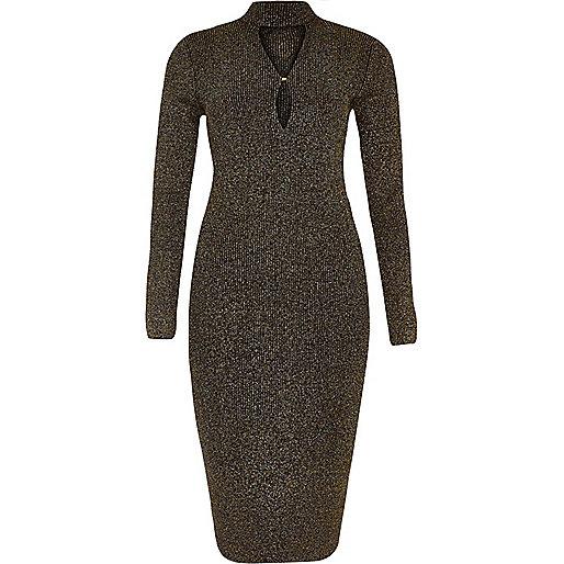 Black sparkly knit keyhole turtleneck dress