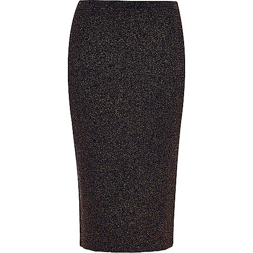 Navy sparkly stretch pencil skirt