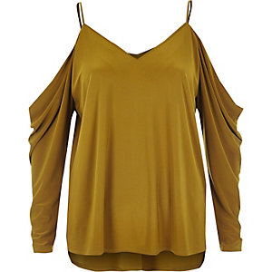 Dark yellow ruched cold shoulder top