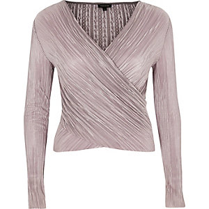 Light purple pleated lace wrap top
