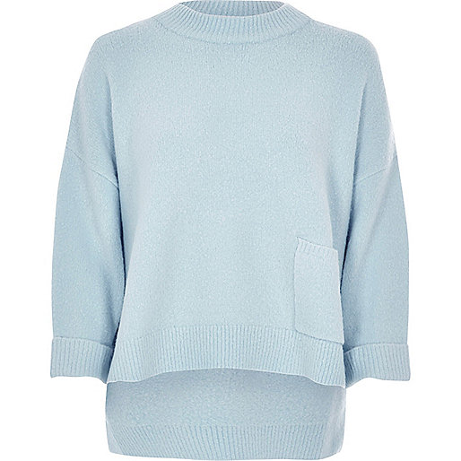 Blue oversized pocket boxy grazer sweater