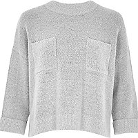 Grey knit grazer top