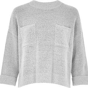 Grey knit grazer top