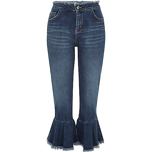 Mid blue wash frill hem cropped jeans
