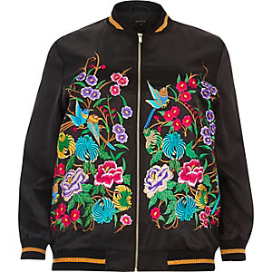 Plus black embroidered bomber jacket
