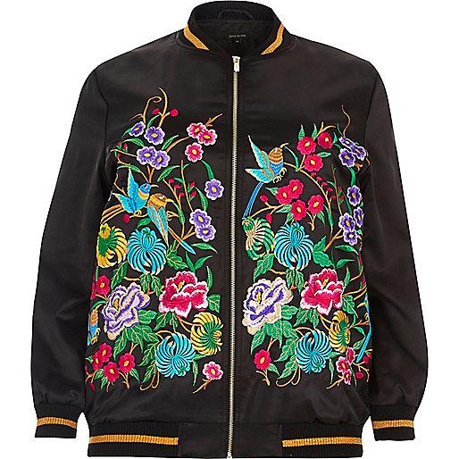 Plus black embroidered bomber jacket