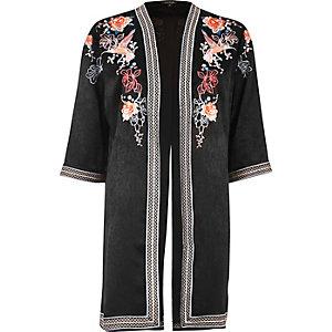 Schwarzer, bestickter Kimono