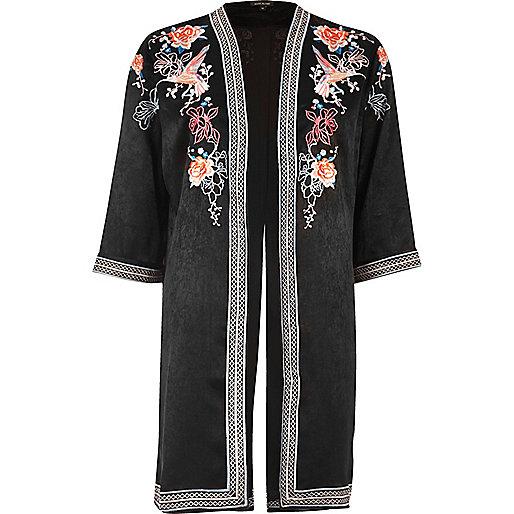 Black floral embroidered kimono