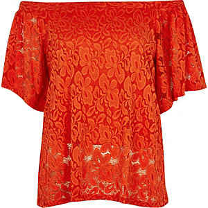 Red daisy lace overlay bardot top