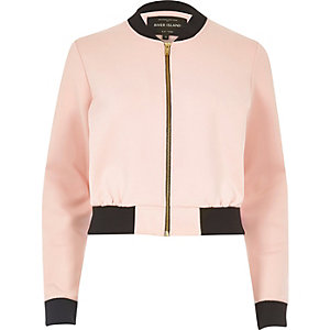 Light pink cropped bomber jacket