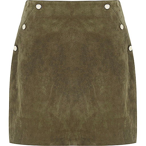 Khaki suede popper mini skirt