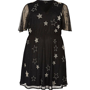 Plus black sparkly star mesh dress