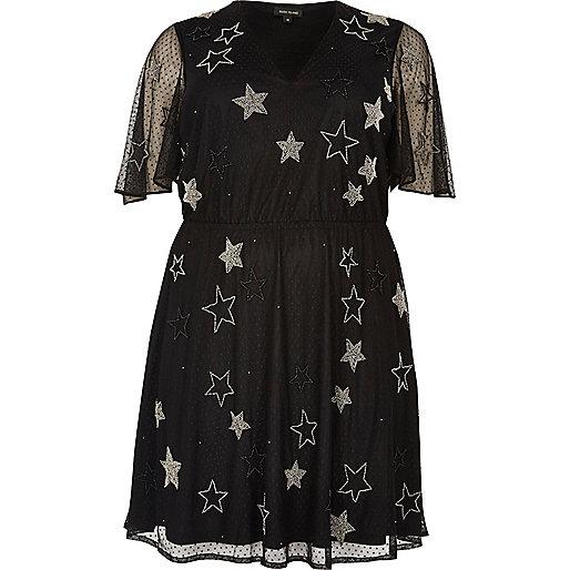 Robe Plus en tulle noire à étoiles brillantes