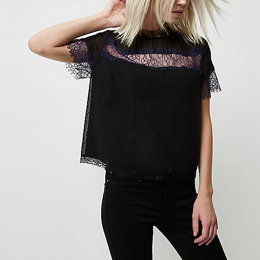 Petite black lace crop T-shirt
