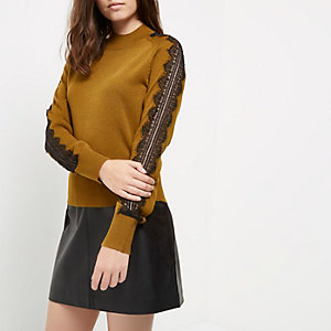 Petite yellow knit lace sleeve grazer top