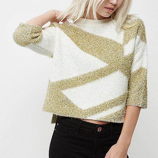 Petite – Stricktop in Creme und Gold