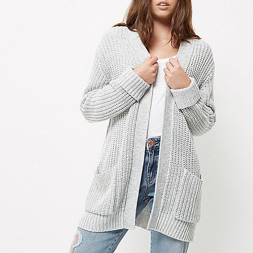 Petite grey oversized chunky knit cardigan